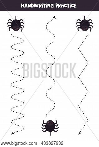 Tracing Lines For Kids With Cute Black Spiders. Handwriting Practice.