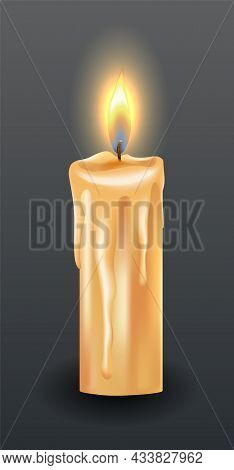 Burning Candle With Dripping Or Flowing Wax. Yellow Candle With Golden Flame. Lit And Melted Wax. Il