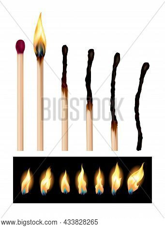 Set Of Match Sticks With Burning Sequence. Wooden Matches In Different Stages Burning And Glowing Re