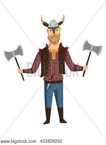 Viking Man With Horned Helmet And Two Axe. Bearded Men Warrior Or Hero Of Scandinavian Legends. Cart