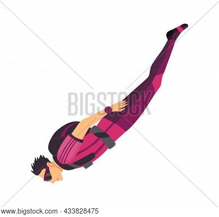 Male Skydiver Flying With Sport Equipment. Skydiving Extreme Sport. Paraglide Jumping Character On W