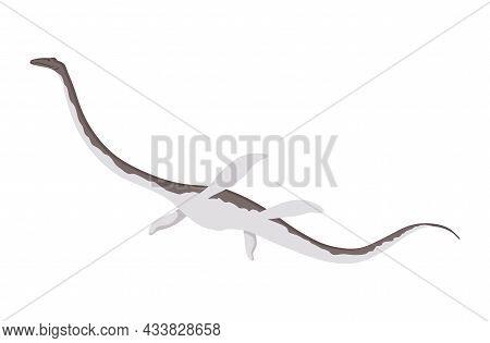 Plesiosaurus Dinosaur Flat Icon. Colored Isolated Prehistoric Reptile Monster On White Background. V