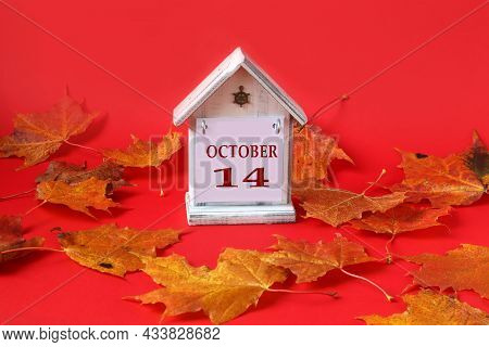 Calendar For October 14 : Decorative House With The Name Of The Month In English, Number 14, Autumn