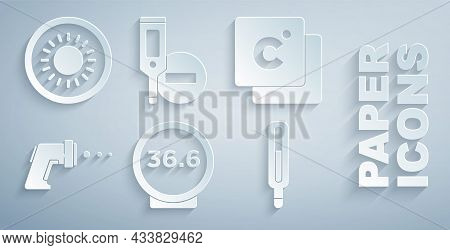 Set Medical Thermometer, Celsius, Digital, And Sun Icon. Vector