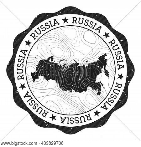 Russia Outdoor Stamp. Round Sticker With Map Of Country With Topographic Isolines. Vector Illustrati