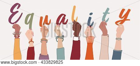 Raised Arms Of A Group Of Diverse Multicultural International People Holding The Letters Forming The