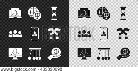 Set Psychologist Online, Psychology, Psi, Old Hourglass, Pendulum, Users Group And Icon. Vector