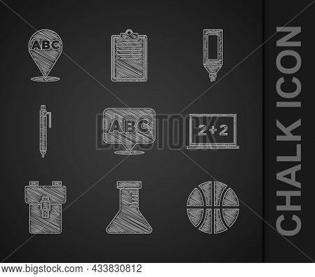 Set Alphabet, Test Tube And Flask, Basketball Ball, Chalkboard, School Backpack, Pen, Marker Pen And