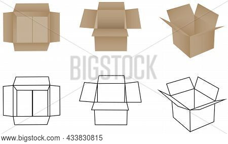 Box, Open And Closed Box Icon. Packing Box For Goods. Vector, Cartoon Illustration. Vector.