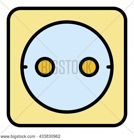European Socket Icon. Outline European Socket Vector Icon Color Flat Isolated