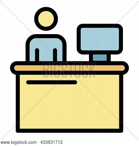 Admin Workplace Icon. Outline Admin Workplace Vector Icon Color Flat Isolated