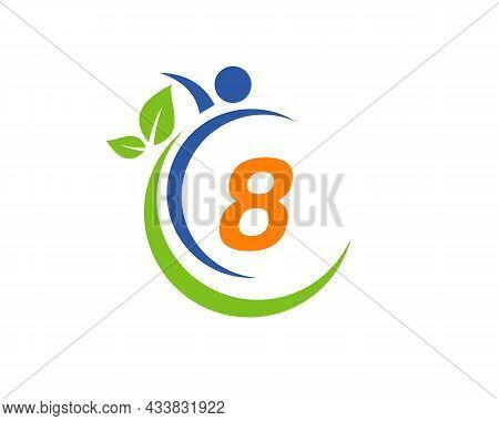 Human Health Logo On Letter 8. Letter 8 Health Care Logo Template. Medical Logo Template Vector Illu