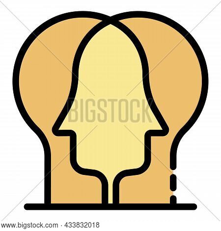 Two Heads Icon. Outline Two Heads Vector Icon Color Flat Isolated