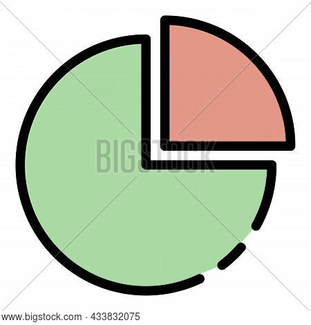 Circle And Quarter Icon. Outline Circle And Quarter Vector Icon Color Flat Isolated