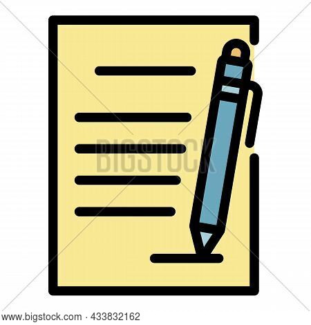 Document And Pen Icon. Outline Document And Pen Vector Icon Color Flat Isolated