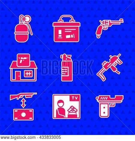 Set Weapons Oil Bottle, Advertising Weapon, Pistol Or Gun, Mp9i Submachine, Buying Assault Rifle, Hu