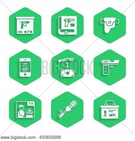 Set Buying Assault Rifle, Anti-tank Hand Grenade, Military Ammunition Box, Pistol Or Gun, Advertisin