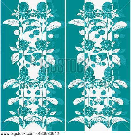Elegant Wild Meadow Flower Seamless Vector Pattern. Arts And Crafts Style Blended Sea Holly Flowers,