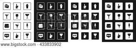 Set Cocktail Shaker, Wine Glass, Martini, Street Signboard With Bar, Champagne Bottle And, Glass Of