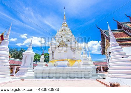 Wat Phra Borommathat Chaiya, Surat Thani White Pagoda About Faith For Worship In Thailand Blue Sky A