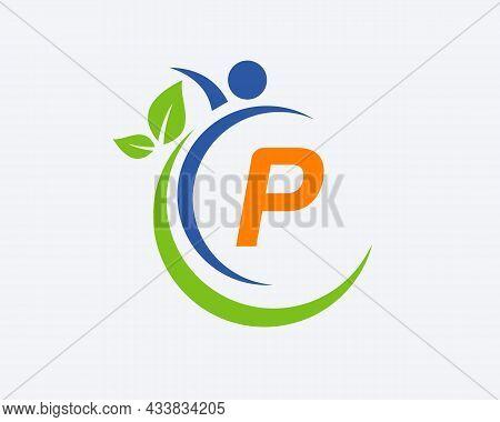 Human Health Logo On Letter P. Letter P Health Care Logo Template. Medical Logo Template Vector Illu
