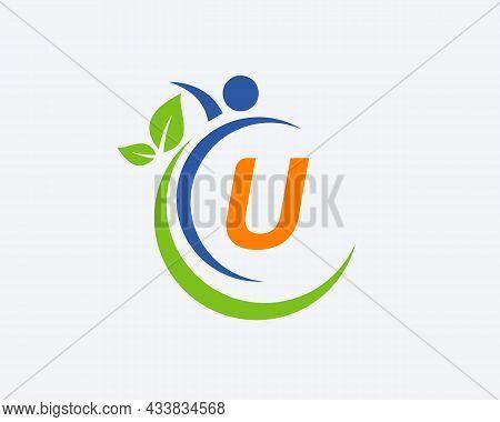 Human Health Logo On Letter U. Letter U Health Care Logo Template. Medical Logo Template Vector Illu