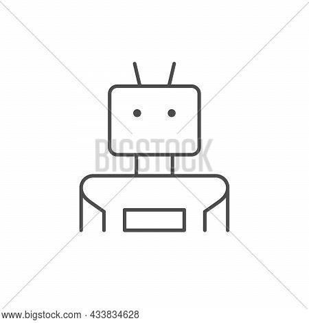 Robot Or Android Line Outline Icon Isolated On White