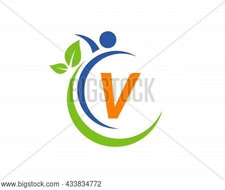 Human Health Logo On Letter V. Letter V Health Care Logo Template. Medical Logo Template Vector Illu