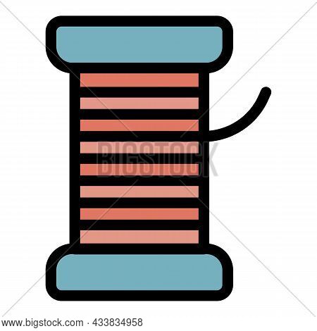 Sewing Thread Icon. Outline Sewing Thread Vector Icon Color Flat Isolated