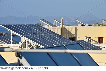 Roof Solar Panels On The Roof, Crete Island, Greece