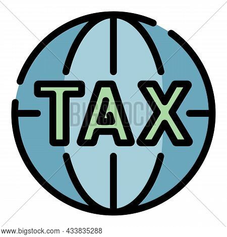 Global Tax Icon. Outline Global Tax Vector Icon Color Flat Isolated