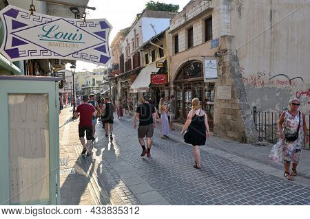 Chania - July 22: Unknown People In Street Of Chania, Greece On July 22, 2021. Chania Is A City On T