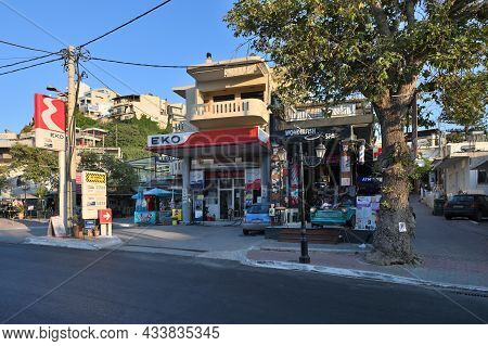 Platanias, Crete - July 21: Street After Sunset In Platanias, Crete On July 21, 2021. Platanias Is A