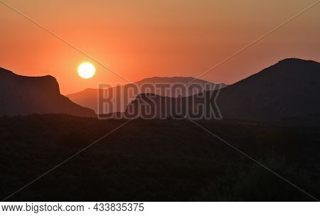 Majestic Sunset In The Mountains Landscape, Greek Islands