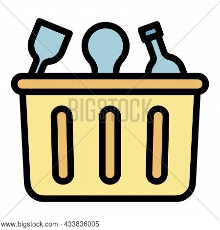 Container For Waste Plastic Icon. Outline Container For Waste Plastic Vector Icon Color Flat Isolate