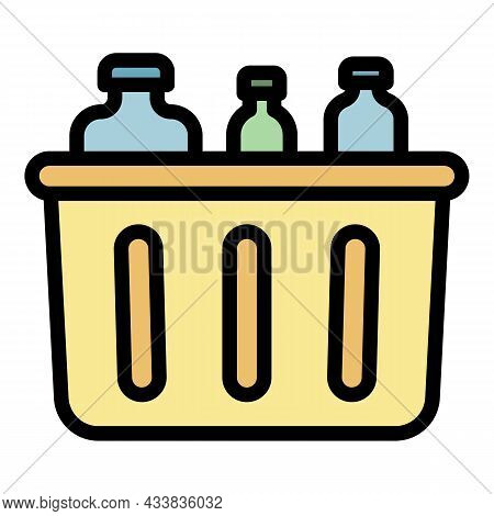 Container For Waste Glass Icon. Outline Container For Waste Glass Vector Icon Color Flat Isolated