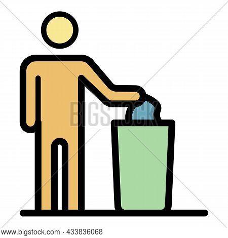 Man Throws Garbage Into Cart Icon. Outline Man Throws Garbage Into Cart Vector Icon Color Flat Isola
