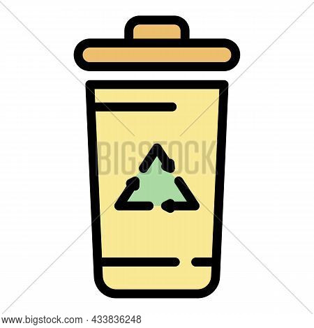 Recyclable Container Icon. Outline Recyclable Container Vector Icon Color Flat Isolated