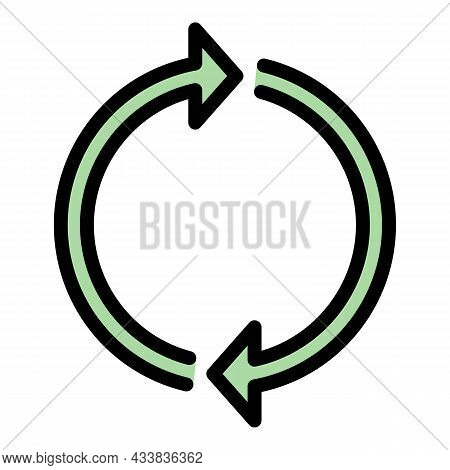 Two Arrows Forming A Circle Icon. Outline Two Arrows Forming A Circle Vector Icon Color Flat Isolate