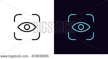 Outline Eye Identify Icon, With Editable Stroke. Linear Eye Scanner Sign, Iris Recognition Pictogram