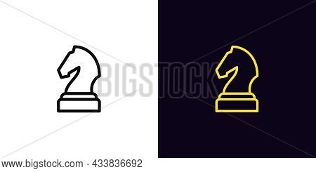 Outline Chessman Knight Icon, With Editable Stroke. Linear Horse Sign, Chess Piece Pictogram. Online