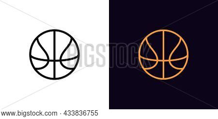Outline Basket Ball Icon, With Editable Stroke. Linear Basketball Sign, Ball Pictogram. Online Game,