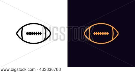 Outline American Football Icon, With Editable Stroke. Linear Rugby Ball Sign, Football Pictogram. On