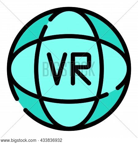 Vr Simulation Icon. Outline Vr Simulation Vector Icon Color Flat Isolated