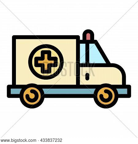 Care Ambulance Icon. Outline Care Ambulance Vector Icon Color Flat Isolated