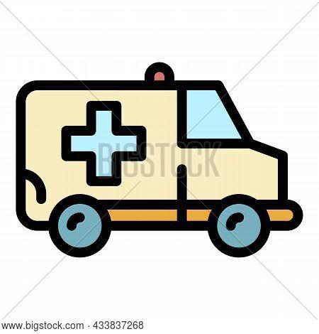 Ambulance Van Icon. Outline Ambulance Van Vector Icon Color Flat Isolated