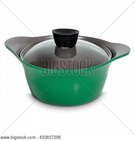 Green Ceramic Saucepan With Transparent Glass Lid On White Background