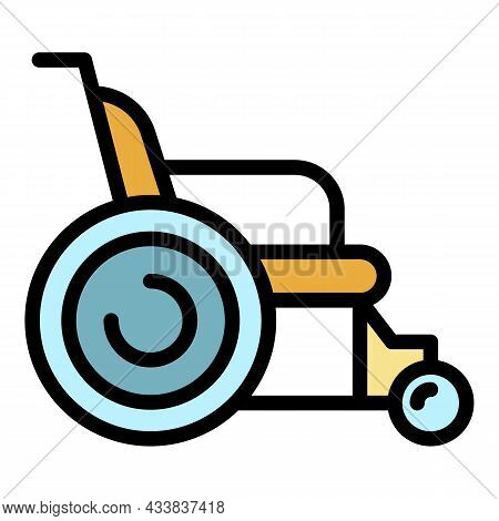 Wheelchair Icon. Outline Wheelchair Vector Icon Color Flat Isolated