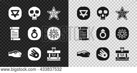 Set Earth Element, Skull, Pentagram, Snake, Comet Falling Down Fast, Bottle With Potion, Decree, Par