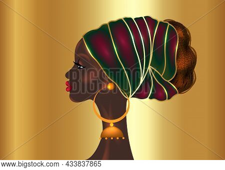 Afro Hairstyle, Beautiful Portrait African Woman In Wax Print Fabric Turban, Black Queen, Ethnic Hea